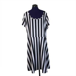 Hot Topic Midnight Hour Black White Stripe Dress